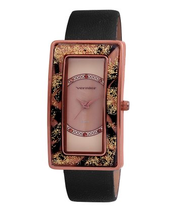 Rose Gold & Black Leopard Rectangular Watch