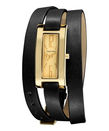 Gold & Black Slim Quartz Triple-Wrap Watch
