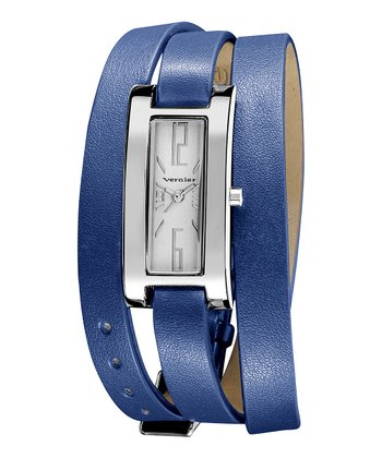 Silver & Blue Slim Quartz Triple-Wrap Watch