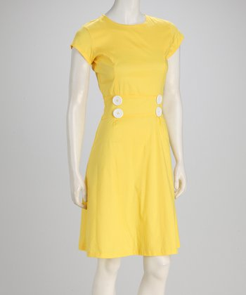 Yellow Twin Palms Dress