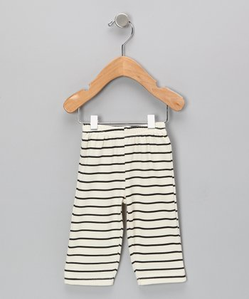 Neutral White & Black Stripe Organic Pants