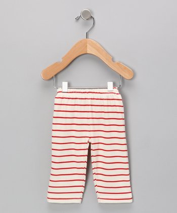Neutral White & Red Stripe Organic Pants