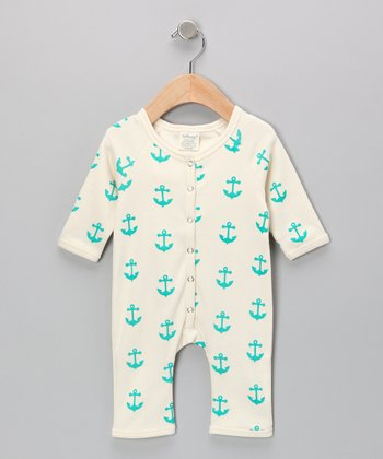 Neutral White & Teal Anchor Organic Playsuit - Infant