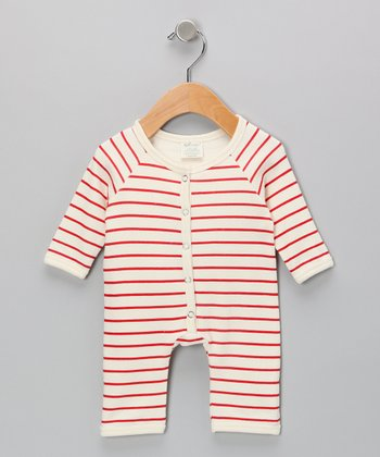 Neutral White & Red Stripe Organic Playsuit - Infant