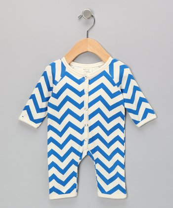 Neutral White & Blue Zigzag Organic Playsuit - Infant
