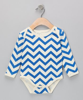 Neutral White & Blue Zigzag Organic Bodysuit