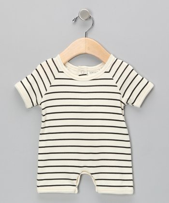 Neutral White & Black Stripe Organic Romper - Infant