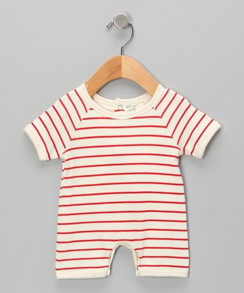 Neutral White & Red Stripe Organic Romper - Infant