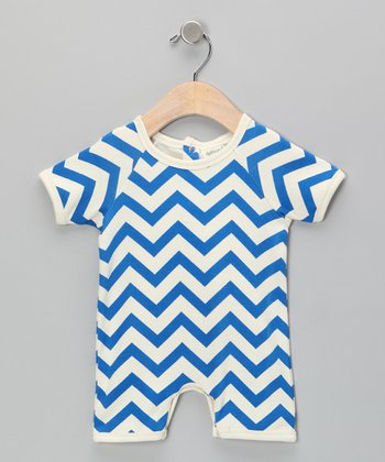 Neutral White & Blue Zigzag Organic Romper - Infant