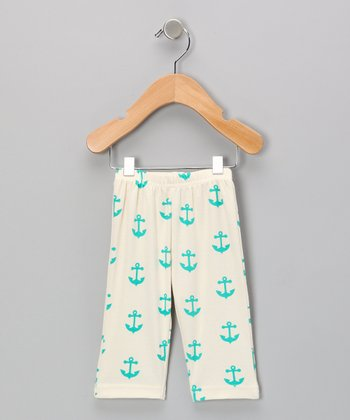 Neutral White & Teal Anchor Organic Pants