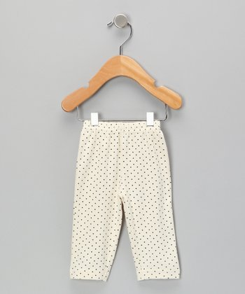 Neutral White & Gray Polka Dot Organic Pants