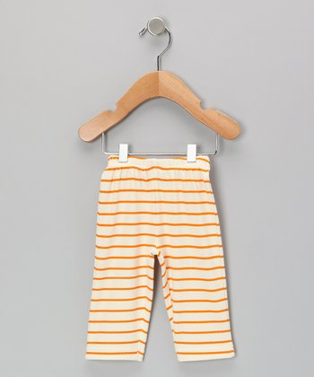 Neutral White & Orange Stripe Organic Pants