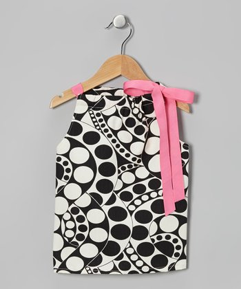 Black & White Circle Tie Dress - Toddler