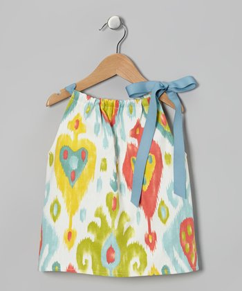 Yellow & Blue Watercolor Tie Dress - Toddler & Girls