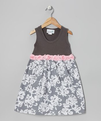 Brown & Gray Vine Dress - Toddler & Girls