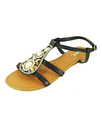 Black Gleam Strap Sandal