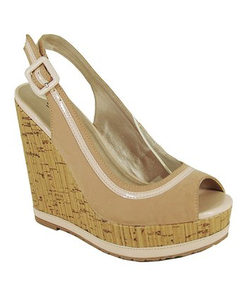 Nude Keeper Peep-Toe Wedge
