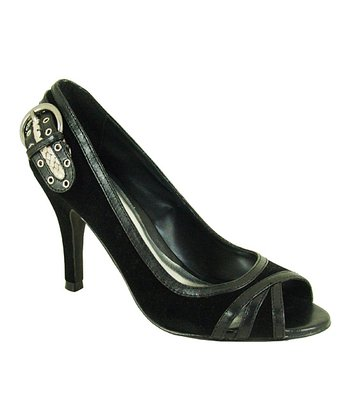Black Velvet Orbits Peep-Toe Pump