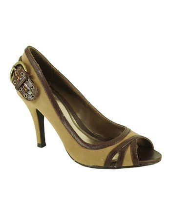 Taupe Velvet Orbits Peep-Toe Pump
