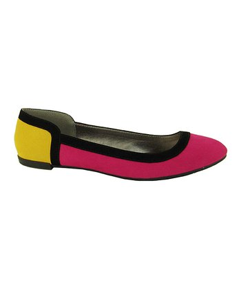 Fuchsia & Yellow Color Block Salya Flat