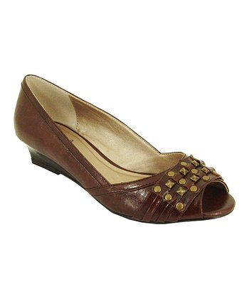 Cognac Crinkle Success Wedge