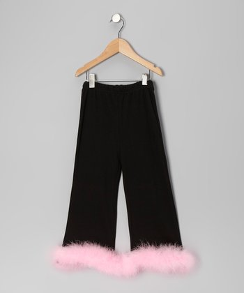 Black & Light Pink Marabou Sassy Pants - Infant, Toddler & Girls