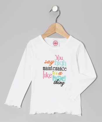 White 'High Maintenance' Tee - Infant, Toddler & Girls