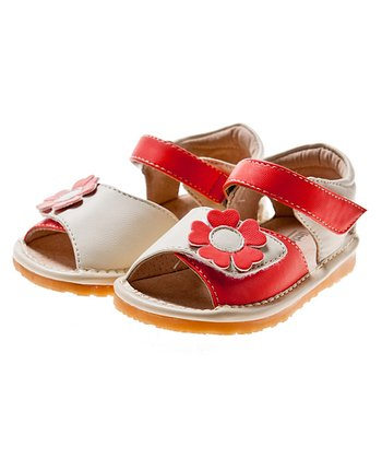 Red & White Flower Squeaker Sandal