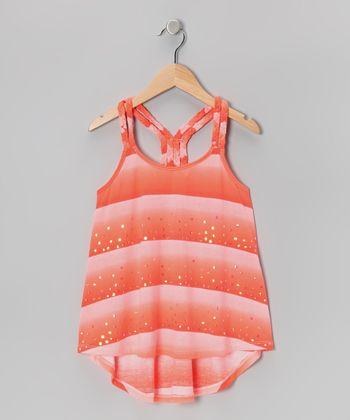Melon Stripe Braided Tank - Girls
