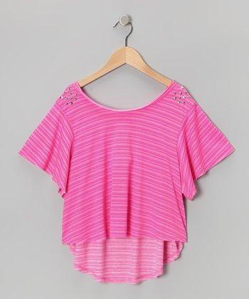 Pink Stripe Bow Tee