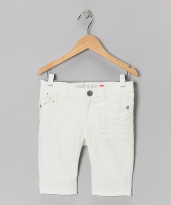 White Flap-Pocket Bermuda Shorts