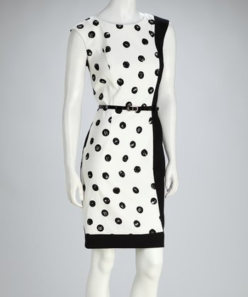 Black & White Polka Dot Color Block Cap-Sleeve Dress