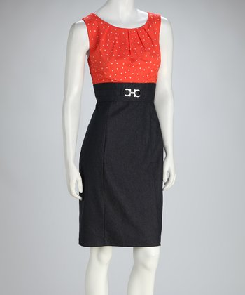 Denim & Coral Polka Dot Sleeveless Dress