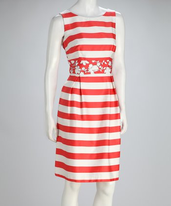 Coral & White Stripe Pleated Sleeveless Dress