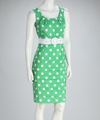 Green & White Polka Dot Pleated Belted Sleeveless Dress