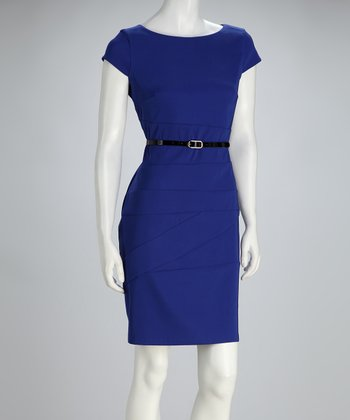Blue Asymmetrical-Seam Belted Cap-Sleeve Dress