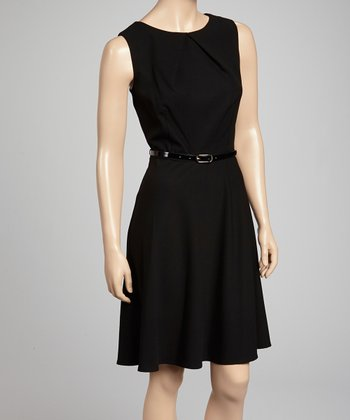 Black Belted Sleeveless Dress