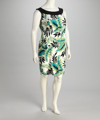 Green Leaf Plus-Size Scoop Neck Dress