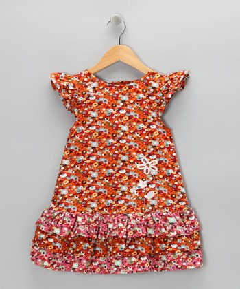 Orange Poppy Angel-Sleeve Dress - Toddler & Girls