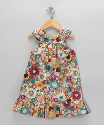 Aqua & Fuchsia Sunflower Yoke Dress - Toddler & Girls