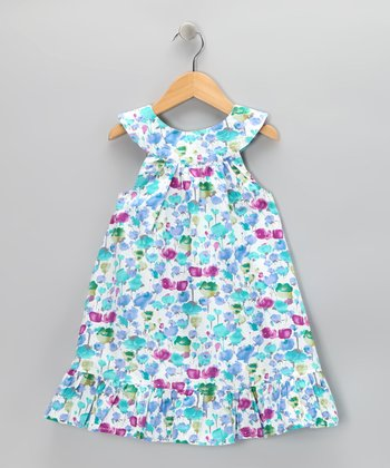 Blue Raining Rose Yoke Dress - Toddler & Girls