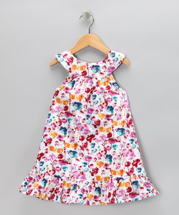Pink Raining Rose Yoke Dress - Toddler & Girls