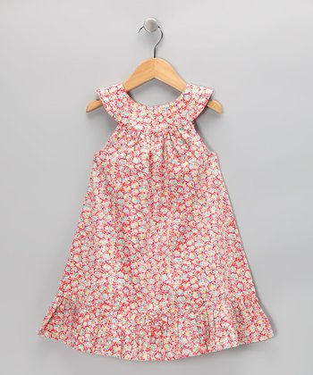 Hot Pink Petal Yoke Dress - Girls