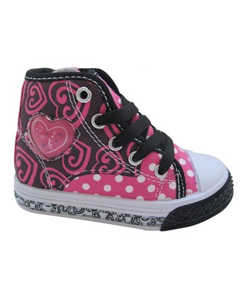 Black & Fuchsia Polka Dot Hi-Top Sneaker
