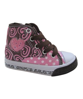 Brown & Pink Polka Dot Hi-Top Sneaker