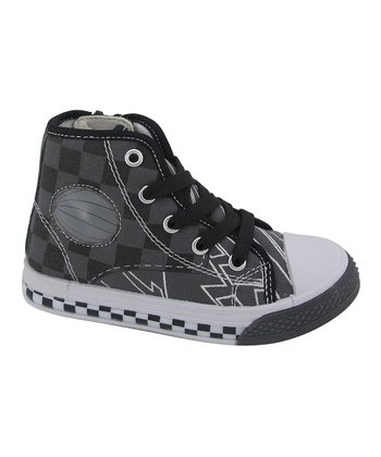 Black Checkerboard High-Top Sneaker