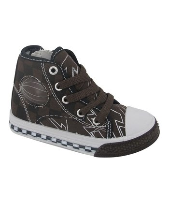 Dark Brown Checkerboard High-Top Sneaker