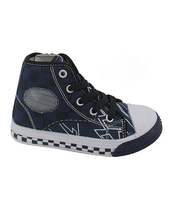 Navy Checkerboard Hi-Top Sneaker