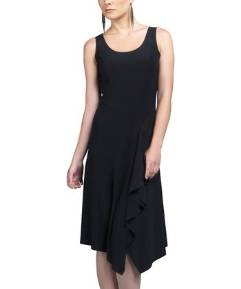 Black Ruffle Scoop Neck Dress - Women & Plus