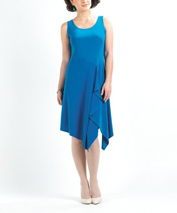 Ocean Blue Ruffle Sleeveless Dress - Women